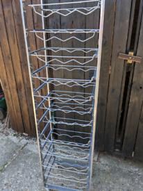 Wine bottle rack stainless steel on wheels