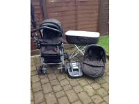 Large baby bundle, inc pram with isofix,bouncer, walker and more.