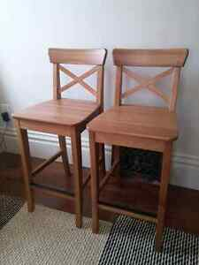 Ikea bar stool / chair solid pine excellent condition for pair