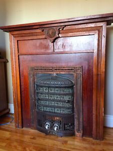 Vintage Electric Fireplace Heater with Mantle