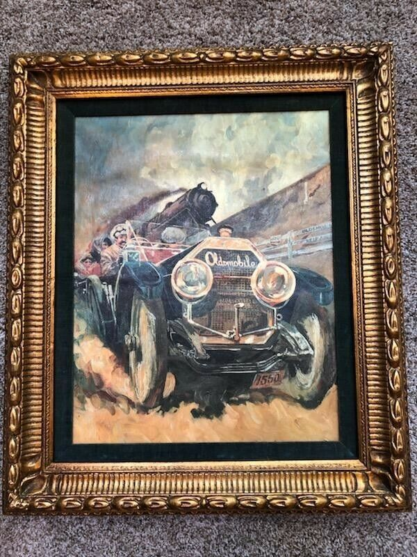 "Oldsmobile ""Setting The Pace"" Painting  William Harnden Foster Framed Print"