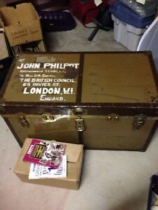 Antique trunk full of miscellaneous antiques