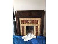 Wooden 1930s Art Deco fireplace surround and / or tiles.
