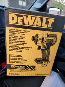 """Dewalt 1/4"""" 3-speed brushless impact driver (tool only)"""
