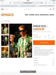 Costume Halloween Oppo Suits Poker Face
