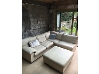 Cream leather corner sofa.