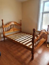 Vintage Oak Double Bed Frame