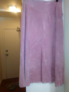Pink washable suede skirt - ladies size 6