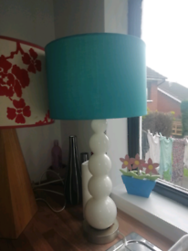 Large lamp, torquoise blue shade with white heavy glass at base!