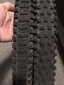 Two 26 inch mtn bike tires and 3 tubes