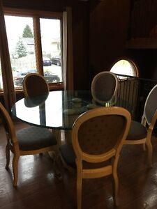 Glass Top Dining Room Table and Chair Set