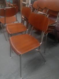 Vintage retro Danish mid century 50s 60s stacking school chairs wooden