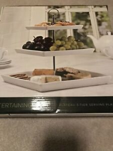 Three 3 Tier Serving Platter Square Afternoon Tea Plate