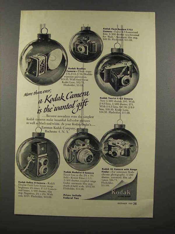 1949 Kodak Camera Ad - Bantam, Tourist, Reflex II