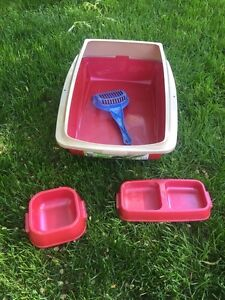 Litter box and bowls