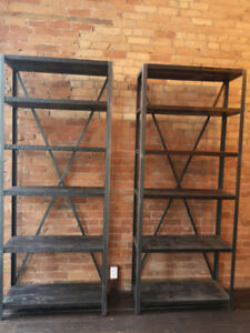Stunning custom made reclaimed wood shelves - for tall spaces