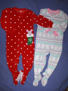 2pr Carter's Holiday Christmas Onesie Jammies Size 2T