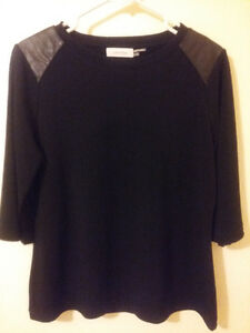 Calvin Klein black with leather 3/4 sleeve top