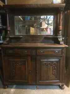 vintage hand carved moldings hutch