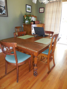 Antique Dining Set with 2 Hutches