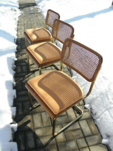 Vintage Retro Rattan Oak Brass Tubular Cantilever Dining Chairs