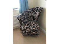 Zebra print asymmetric bedroom chair