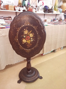 Antique Papier Mache Tilt Top Table.