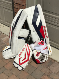 Bauer Supreme TotalOnes goalie pads, blocker & catcher