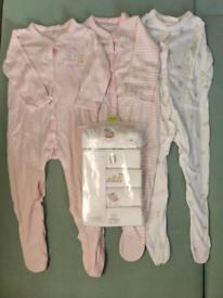 Mothercare Girl 12-18Long Sleeve Sleepsuit and short sleeve bodysuits