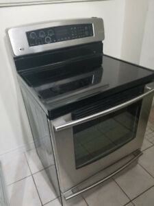 "Lg stainless steel 30"" electric glass top stove range oven"