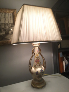 Vintage antique porcelain handpainted Lamp with silk shade