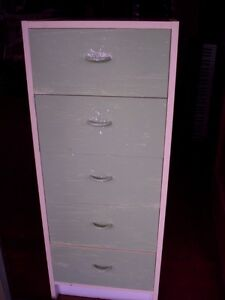 5 drawer solid wood narrow dresser