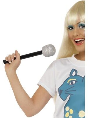 Microphone Silver Glitter Adult Unisex Smiffys Fancy Dress Costume Accessory (Microphone Glitter)