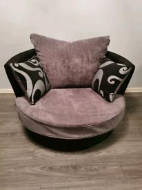 Black / Grey Swivel Cuddle Chair