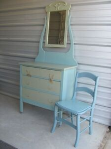 Antique small repainted dresser & chair