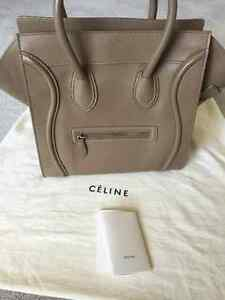 100% AUTHENTIC NEW CELINE MINI LUGGAGE SMOOTH LEARHER IN TAUPE!