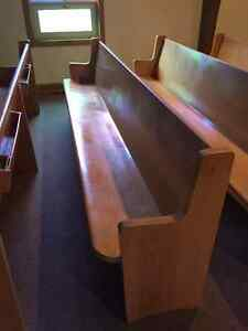 Church pews,Stained Glass Windows.