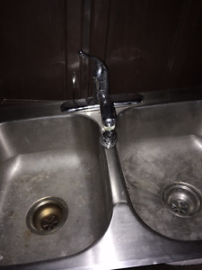 Double sink with taps