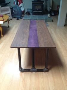 Exotic Hardwood Coffe Table with Pipe Frame