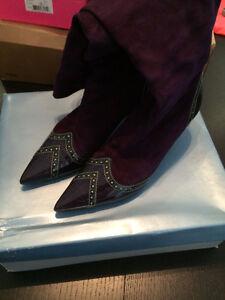 Nine West Purple Suede Knee High Kitten Heel boots, sz 6
