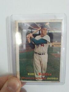 Vintage 1957 Topp's Duke Snider baseball card