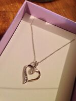 Sterling Silver Heart Necklace with Diamonds