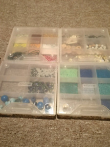 Beads in a plastic storage container