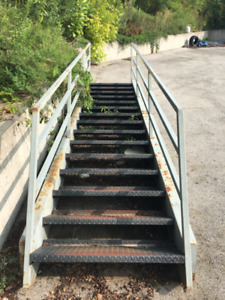 """Industrial Steel Staircase 15 treads, 16' long, 43"""" wide"""