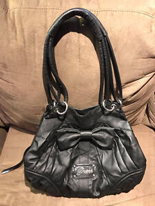 Black Leather Guess Shoulder Bag