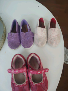 3 pairs of size 9 toddler girls shoes.