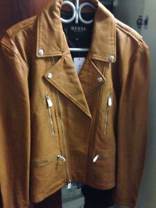 GUESS GENUINE LEATHER BIKER JACKETS