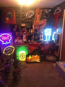 Beer signs, bar lights, neon signs and brewery collectibles