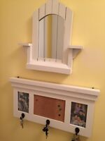 Entrance combination mirror and key hanger