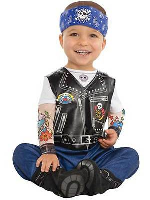 Born To Be Wild Baby Biker Punk Rocker Gang Costume Infant Toddler 0-24 Months - Baby Punk Costume